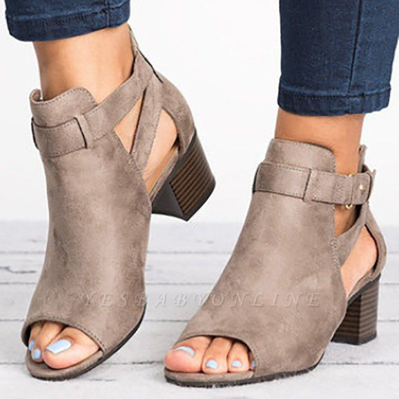 Daily Zipper Hollow-out Summer Open Toe Chunky Sandals