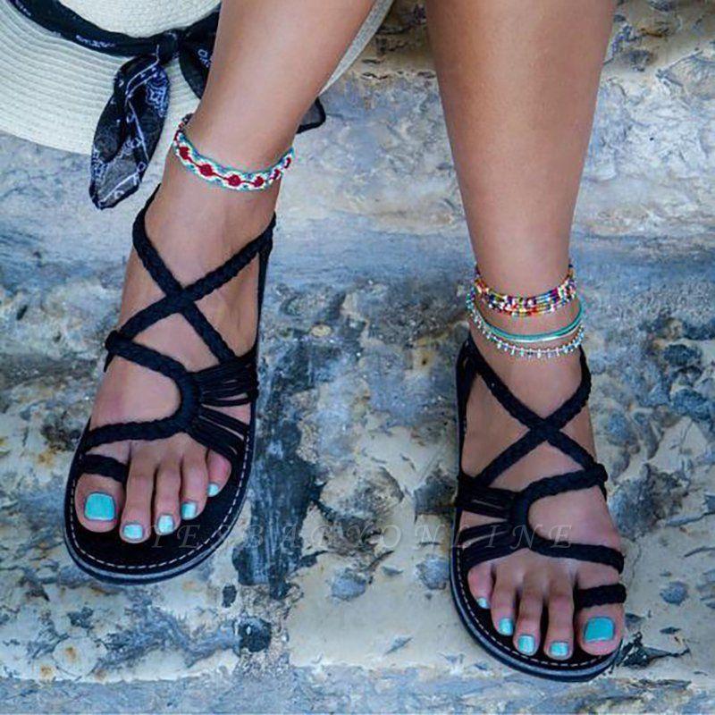 Summer Handmade Breathable Bandage Beach Flat Sandals cpa1110