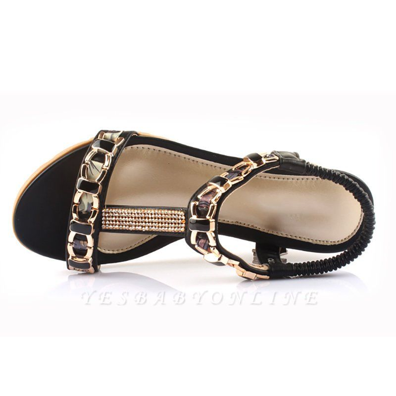 Rhinestone Date Chain Hollow-out Women Summer Wedge Sandals