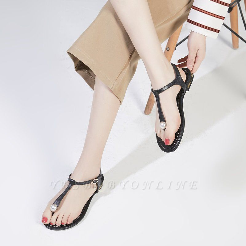 Flip-flops Imitation Pearl Daily Summer Buckle Sandals