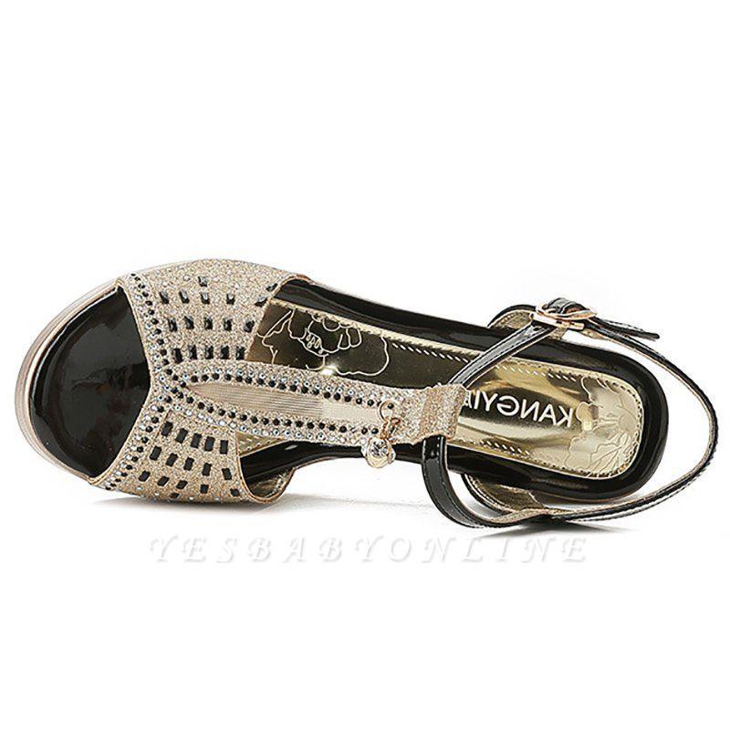 Glitter Rhinestone Buckle Peep Toe Summer Chunky Sandals