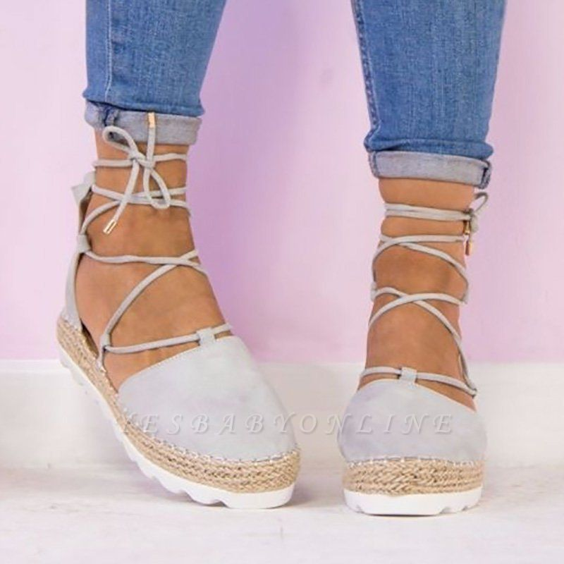 Espadrilles Lace-up Hollow Out Round Toe Suede Sandals