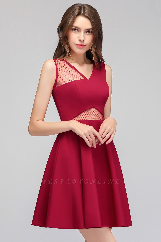 Cheap A-line Sleeveless Short V-neck Tulle Neckline Homecoming Dress in Stock