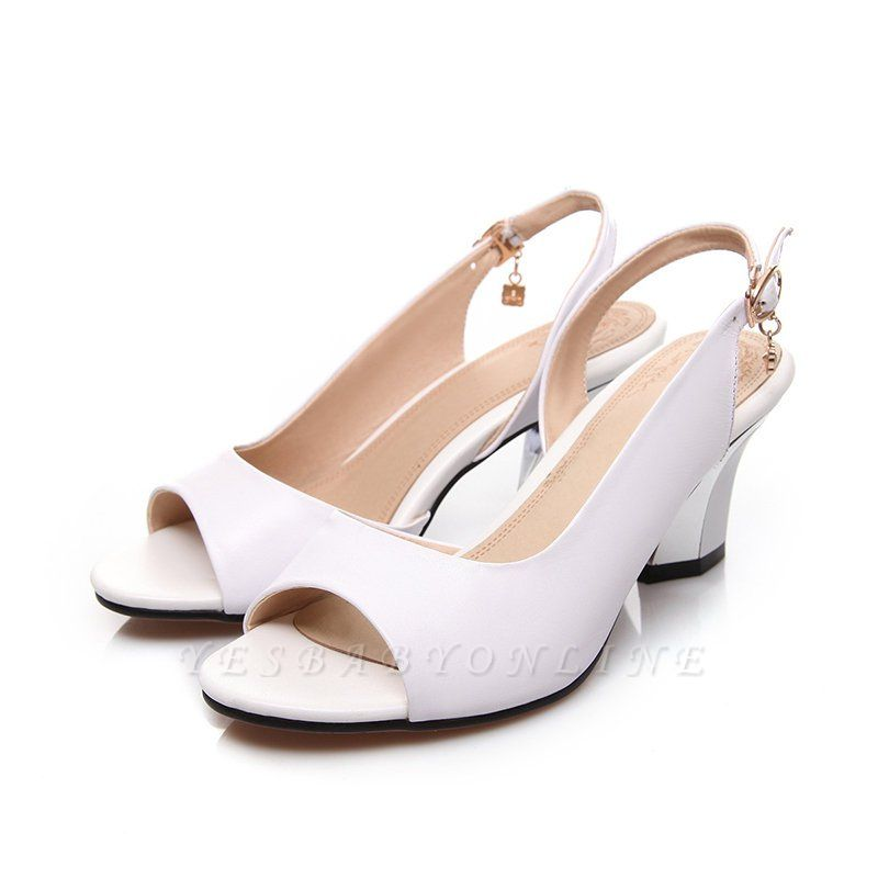 Summer Buckle PU Dress Peep Toe Chunky Sandals