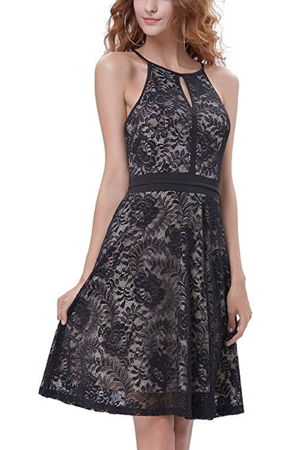 Women's Halter Floral Lace Cocktail Party Dress Homecoming Dress