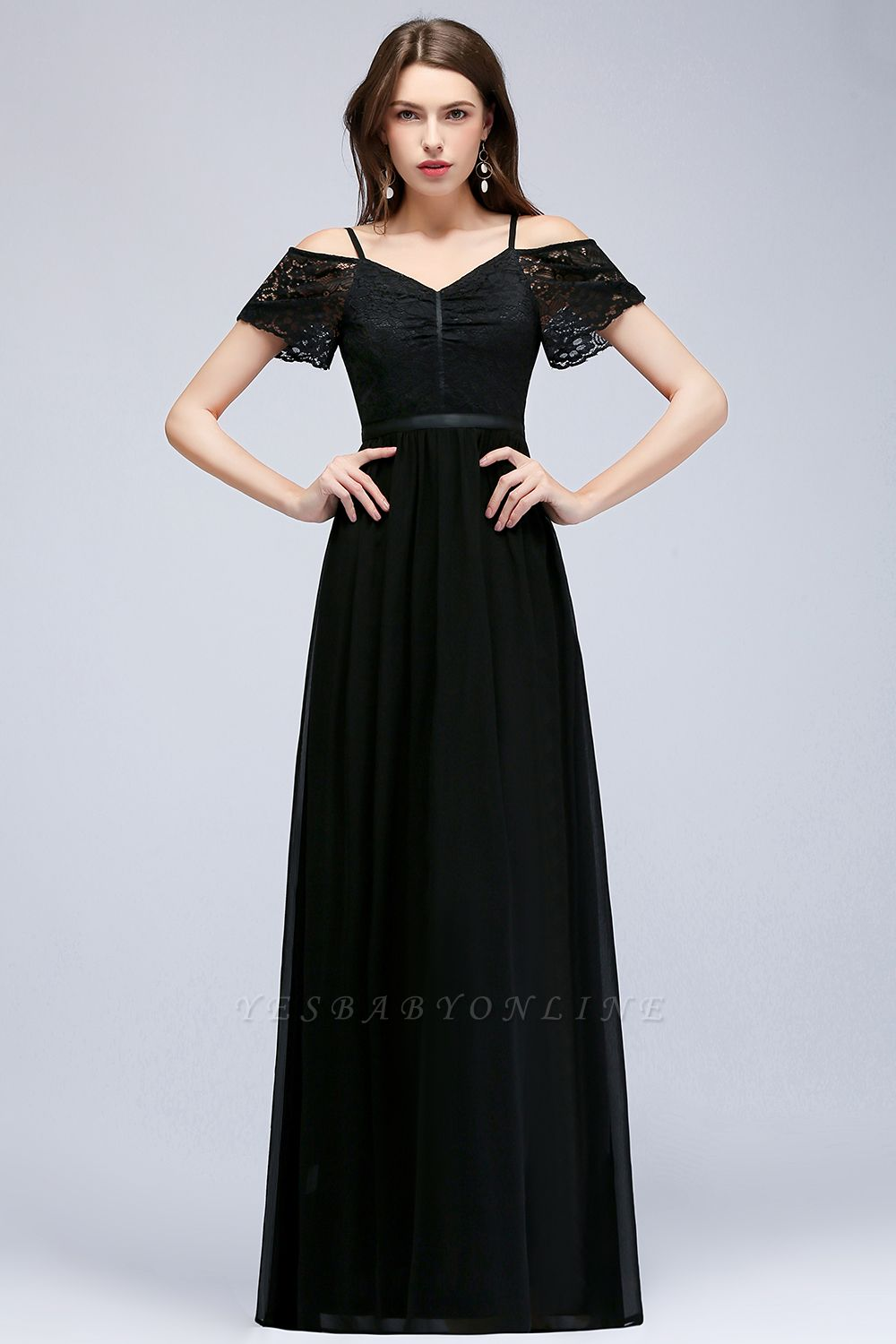 Cold-Shoulder Black  Sexy Short-Sleeves Lace Evening Dress
