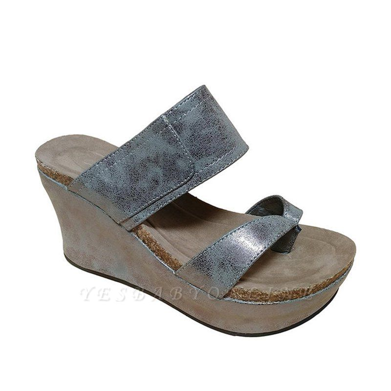 Large Size Slip On Thong Wedge Wedge Sandals