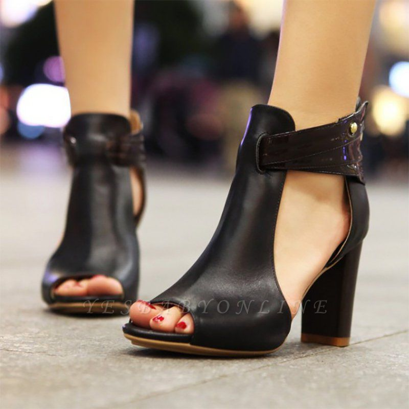 Hollow-out Peep Toe Zipper Summer Chunky Sandals