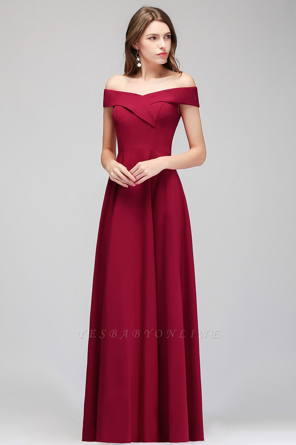A-line Off-the-Shoulder Long Burgundy Evening Gowns