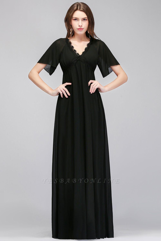 Black A-Line Chiffon V-Neck Cheap Bridesmaid Dresses