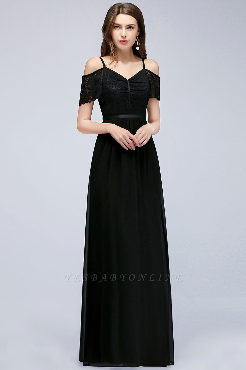 A-line  Lace V-Neck Off-the-shoulder Sleeveless Floor-Length Bridesmaid Dresses