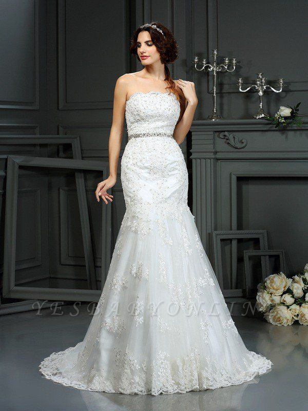 Strapless Sleeveless Beaded Sexy Mermaid Long Lace Wedding Dresses