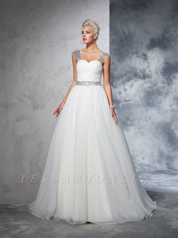 Long Ruched Sleeveless Wedding Dresses | Stunning Tulle Puffy Straps Bridal Gowns