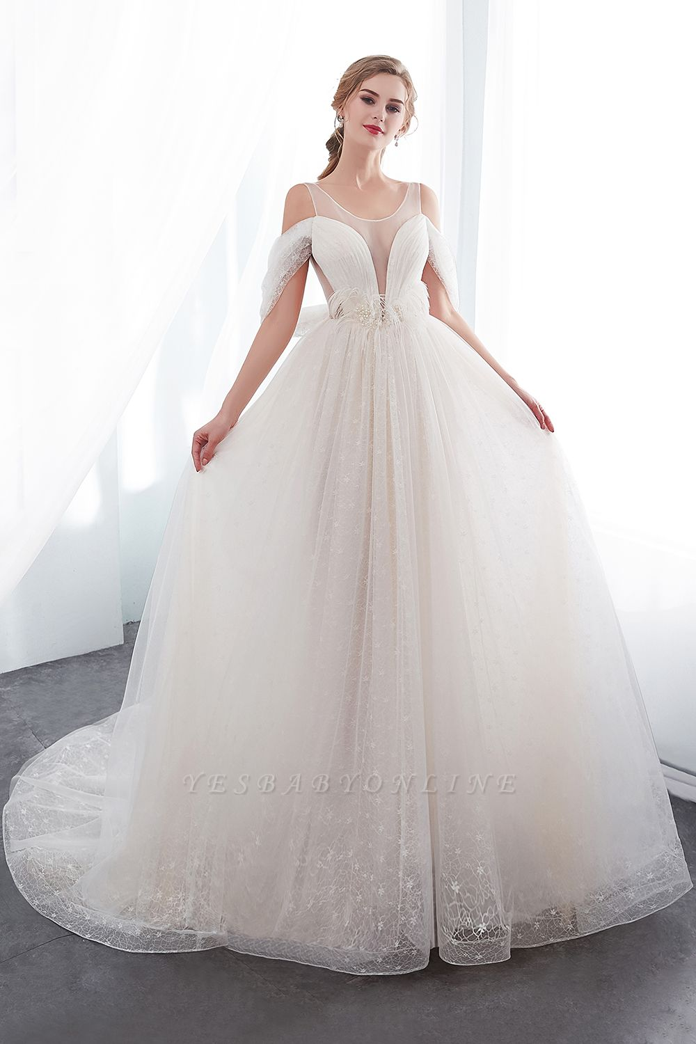 NANCY | Affordable Sleeveless Floor Length Lace Ivory Wedding Dresses