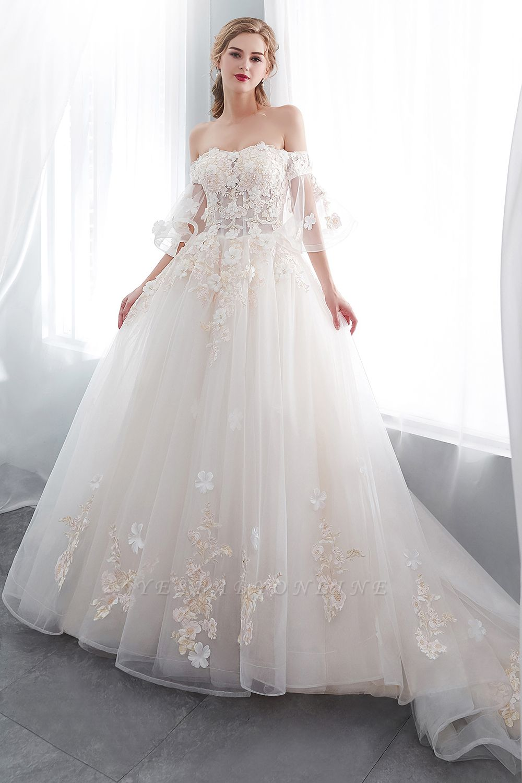 NANCE   Puffy Off-the-shoulder Floor Length Lace Appliques Wedding Dresses