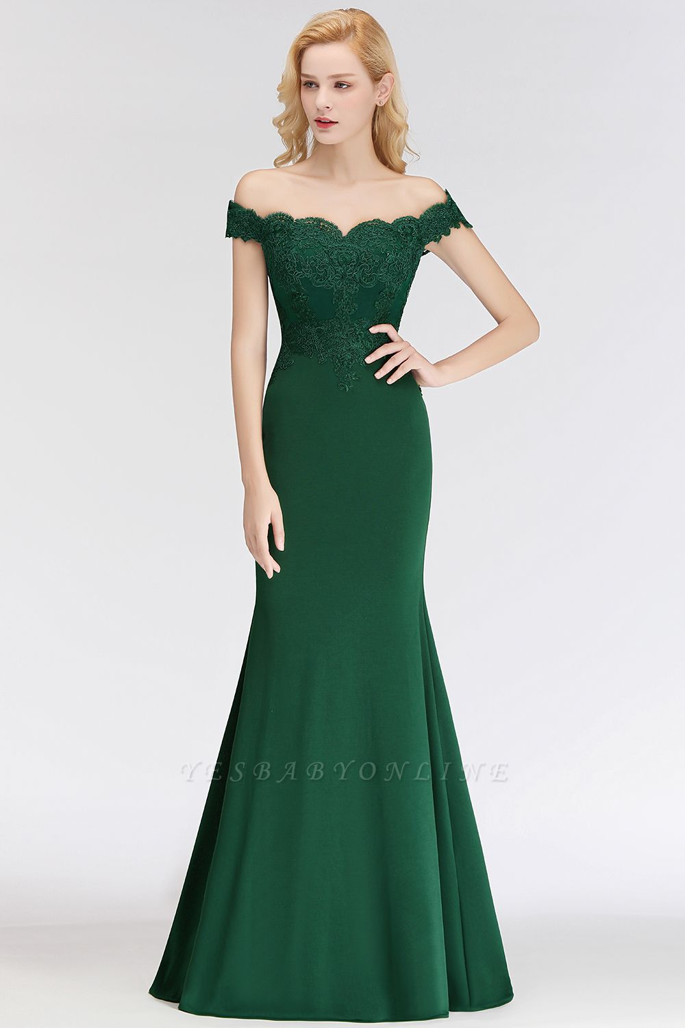 Cheap Mermaid Off-the-shoulder Long Appliques Satin Bridesmaid Dress in Stock