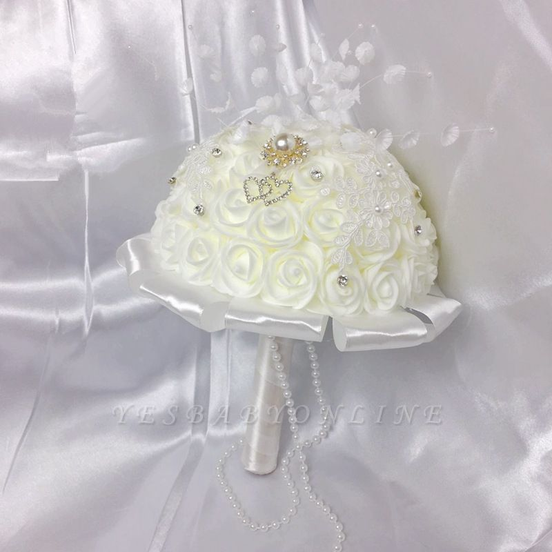 Ivory Silk Rose Bouquet for Wedding with Crystals