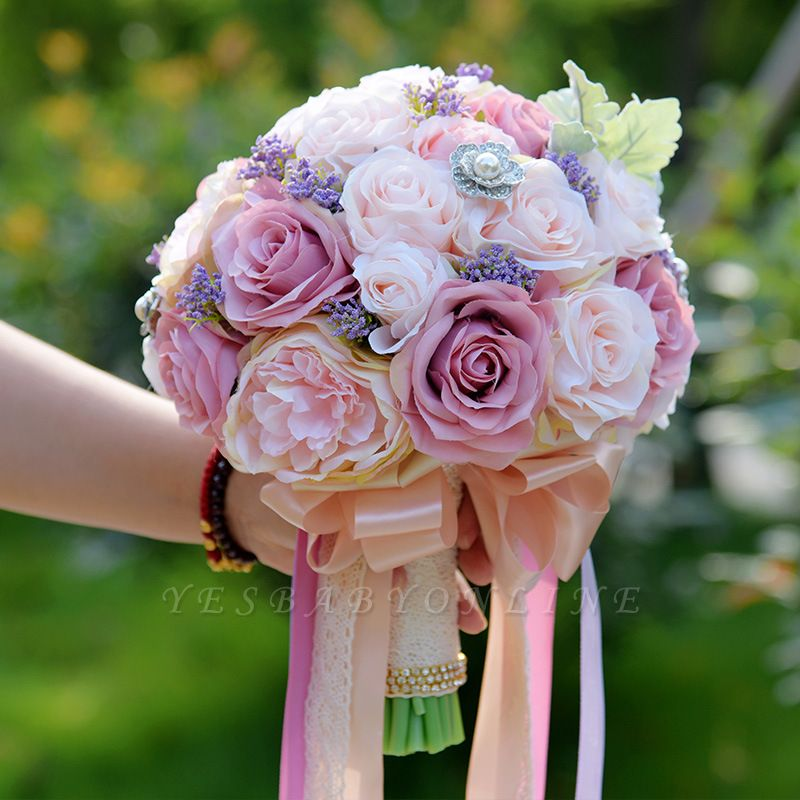 Artificial Silk Rose Wedding Bouquet in Two Tone Pink