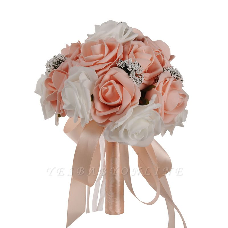 Two Colors Silk Flowers Wedding Bouquet with Ribbon