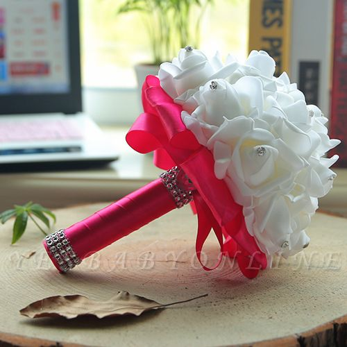 White Silk Wedding Bouquet with Colorful Handles
