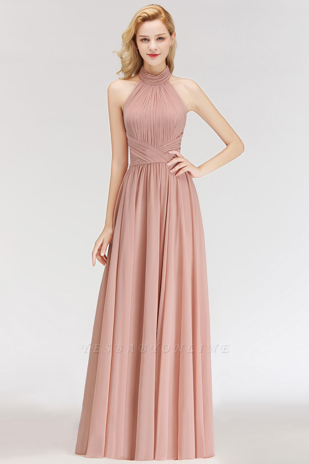 Halter A-line Chiffon Floor-length Backless Sleeveless Fashion Bridesmaid Dress