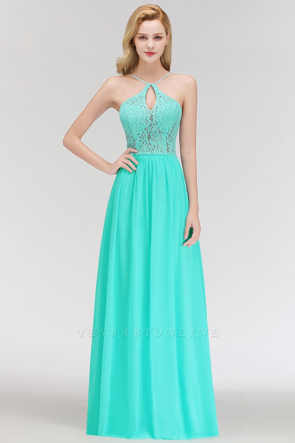 A-line Keyhole Neckline Lace Top Long Spaghetti Bridesmaid Dress In Stock
