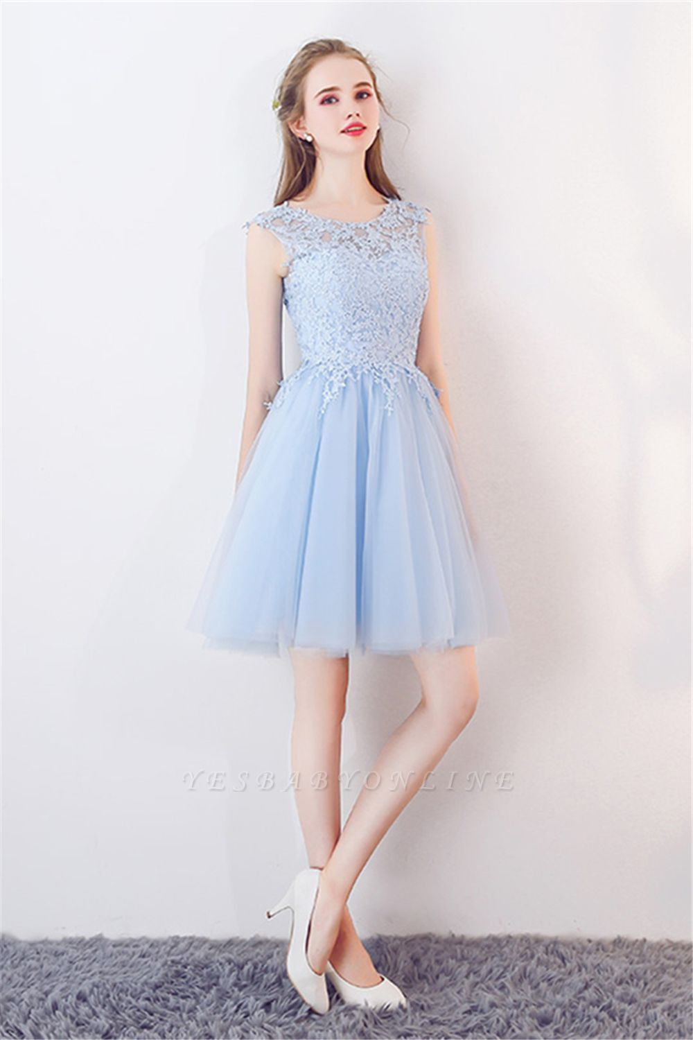 Baby-Blue Lace  Short Appliques Sleeveless Homecoming Dresses