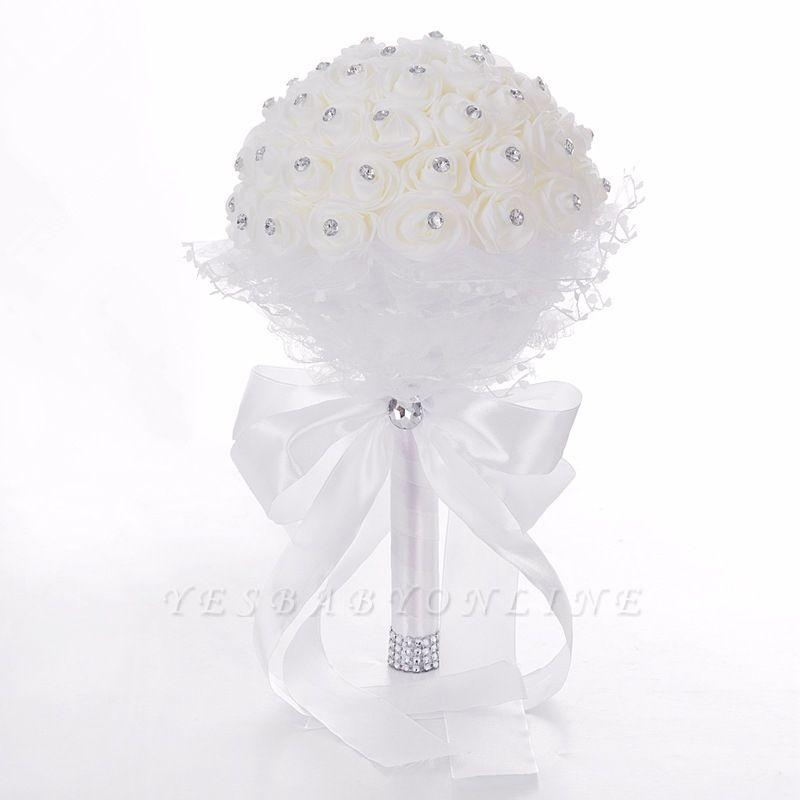 Elegant Pure White Beading Wedding Bouquet with Lace Ribbon