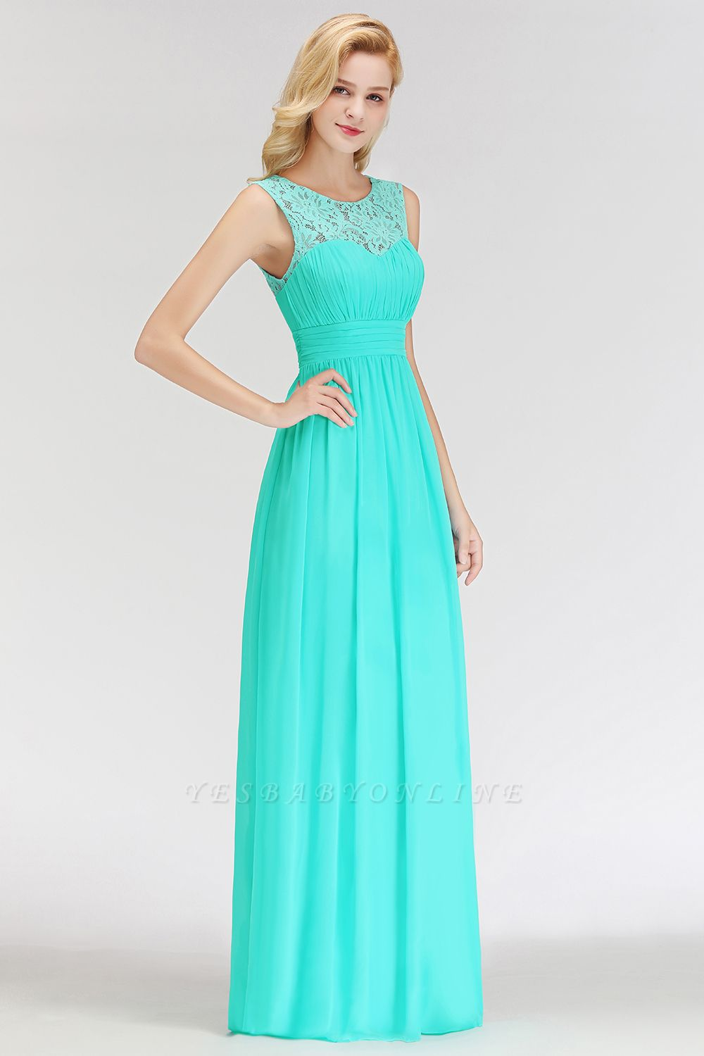 A-line Sleevless Long Lace Appliques Neckline Bridesmaid Dress In Stock