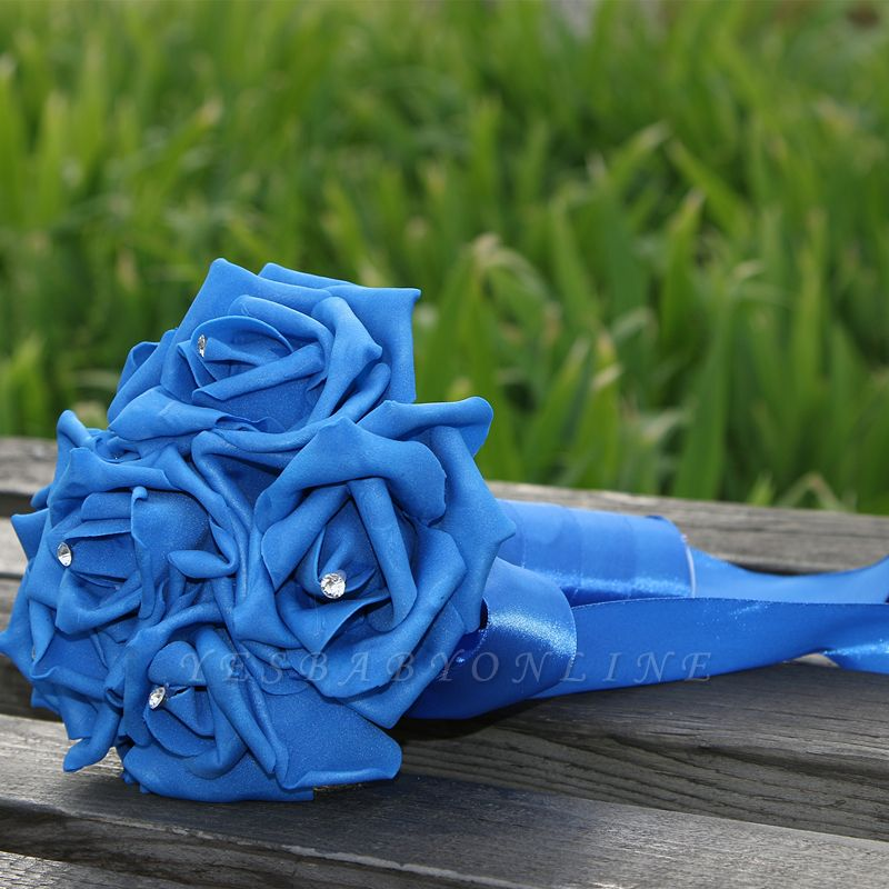 Simple Silk Rose wedding Bouquet in Multiple Colors