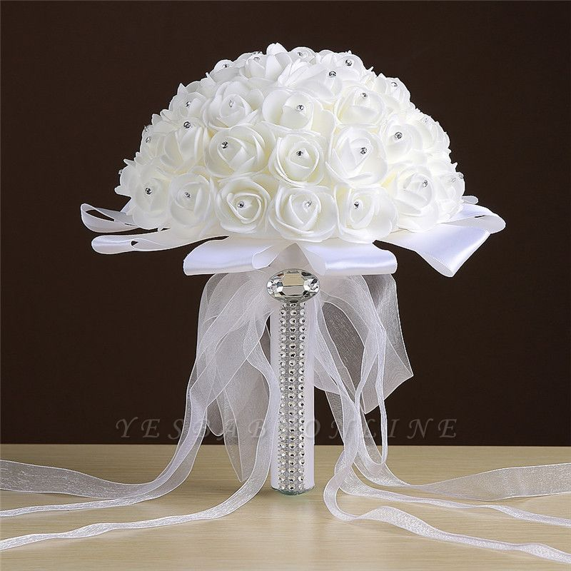 Ivory Silk Rose wedding Bouquet with Beads
