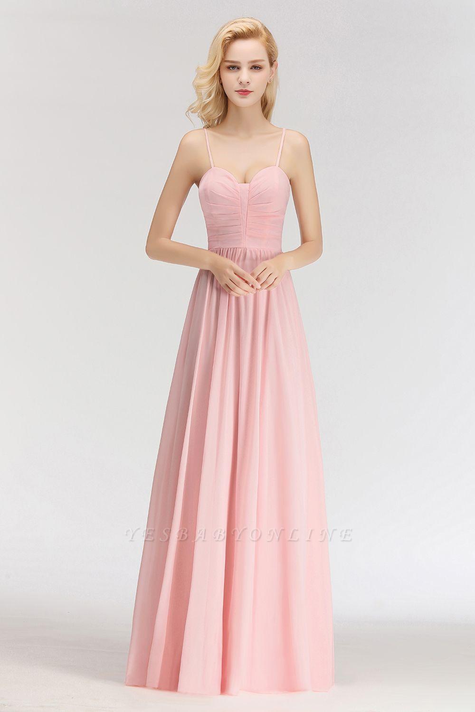 Pink Chiffon Simple Floor-length Sleeveless A-line Spaghetti-Strap Zipper Bridesmaid Dress
