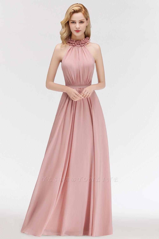 A-line  Halter Sleeveless Ruffled Floor Length Bridesmaid Dresses