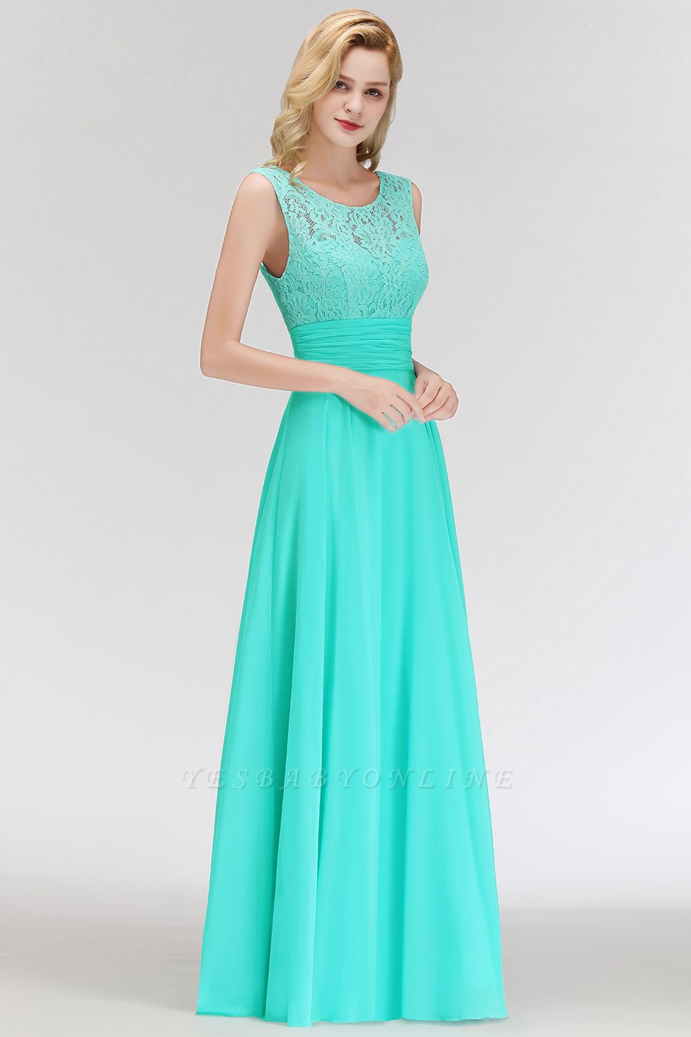 A-line Floor Length Lace Top Sleeveless Chiffon Bridesmaid Dress In Stock