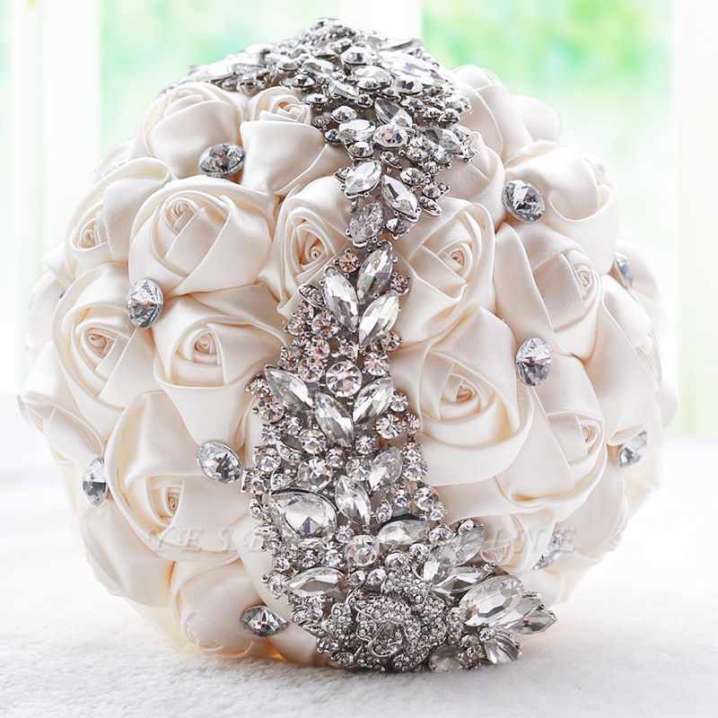 Slik Rose Beading Wedding Bouquet in Multiple Colors
