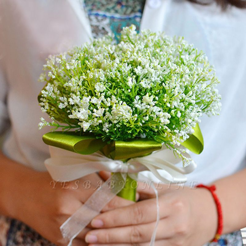 Green Babysbreath Real Touch Wedding Bouquet