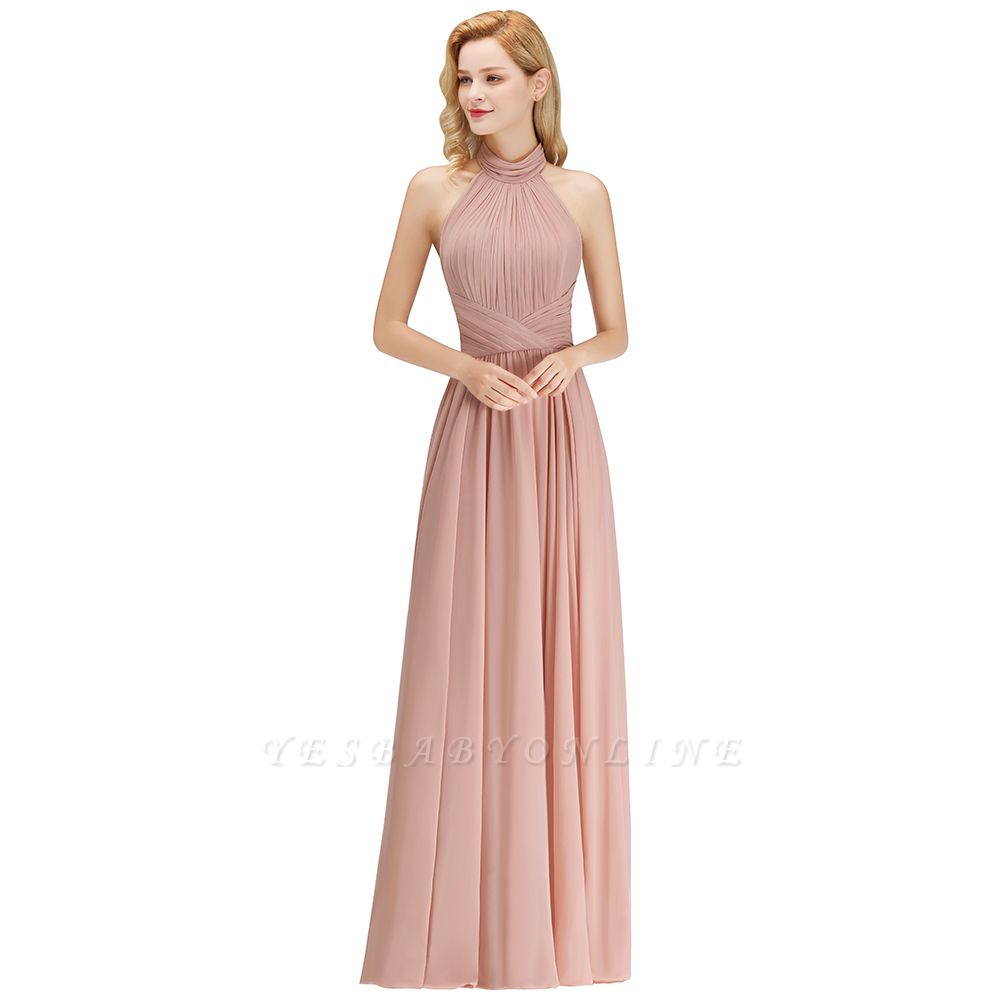 A-line Floor Length Halter Ruffled Chiffon Bridesmaid Dresses