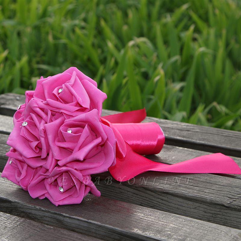 Simple Silk Rose wedding Bouquet in Multiple Colors