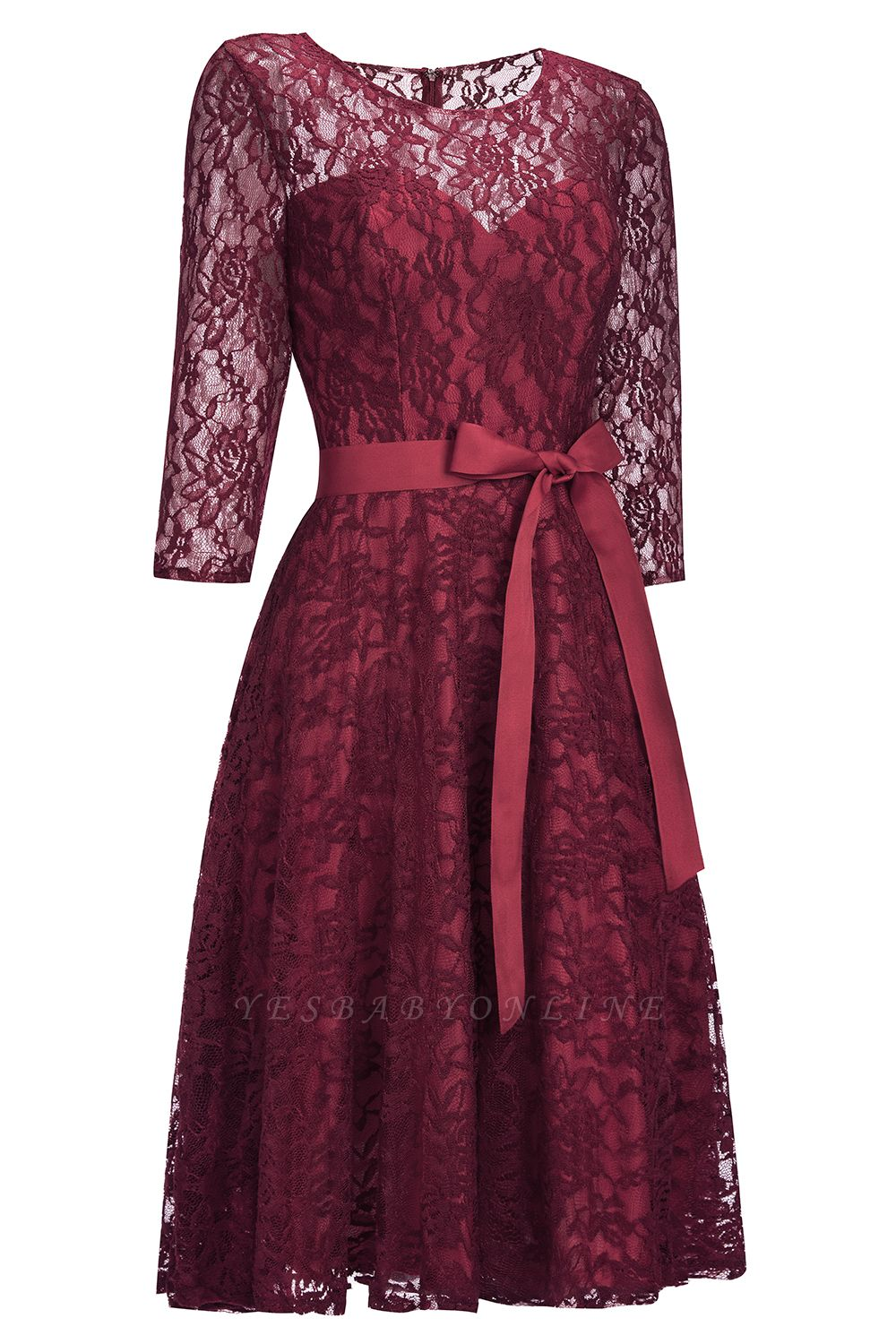 Cheap Vintage A-line Burgundy Lace Dress with Sleeves in Stock