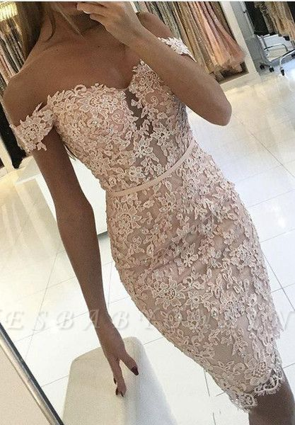 Off-the-Shoulder Homecoming Dress Elegant Lace Beaded Sheath Cocktail Dress