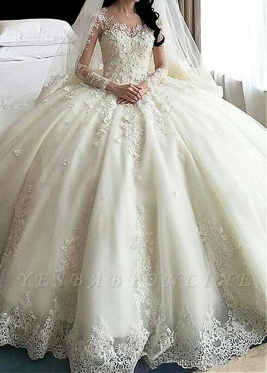 Glamorous Court Train Puffy Long Sleeves Appliques Wedding Dresses