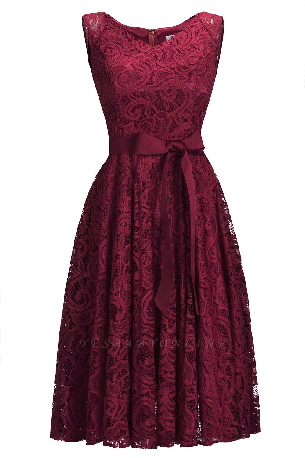 Cheap Simple Sleeveless A-line Red Lace Dress with Ribbon Bow in Stock