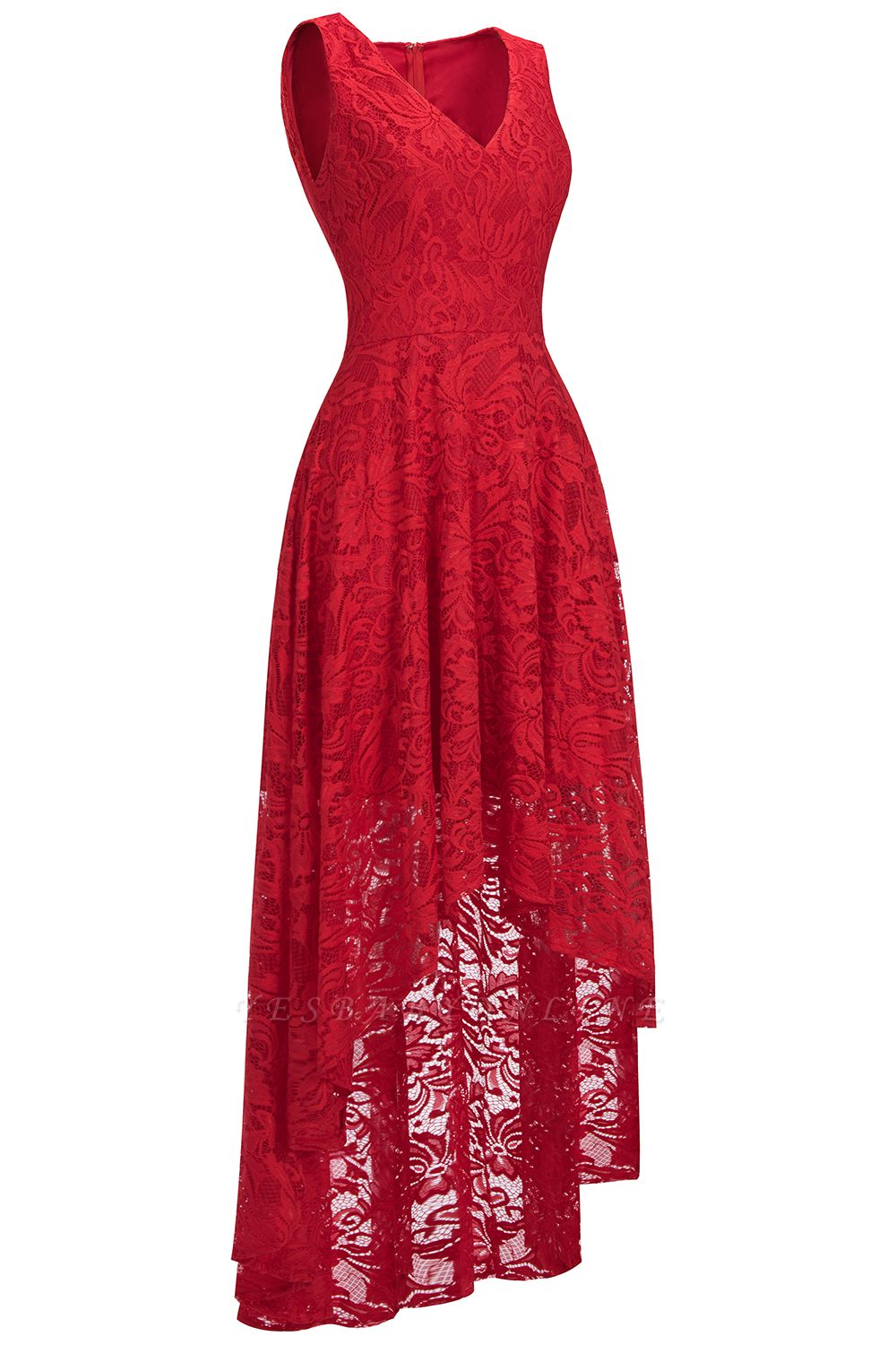 Cheap A-line Hi-lo V-neck Sleeveless Burgundy Lace Dress in Stock