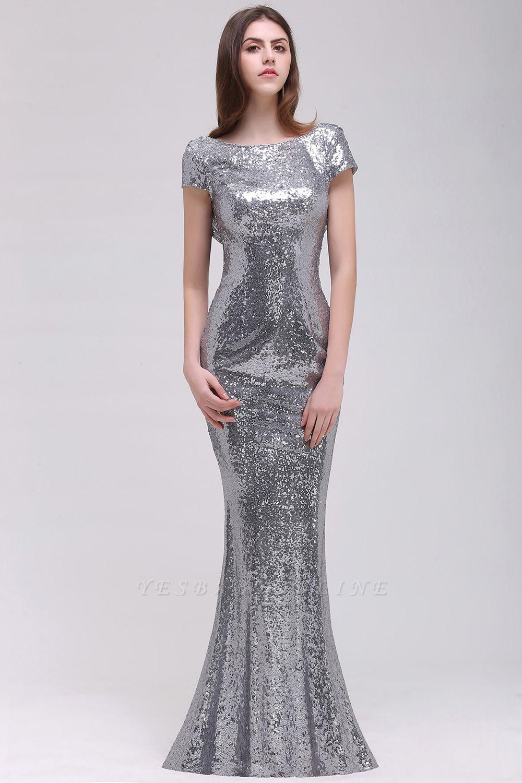 Mermaid Sparkly Sequins Scoop Short-Sleeves Floor-Length Bridesmaid Dresses