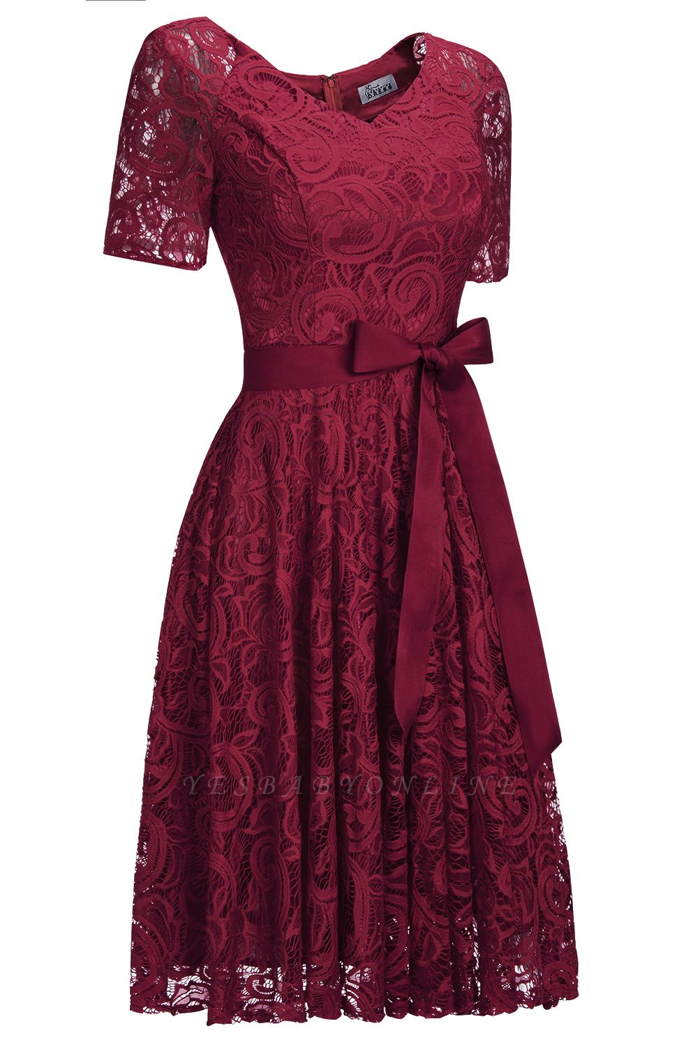 Stunning V-neck Short Sleeves Lace Dresses with Bow Sash
