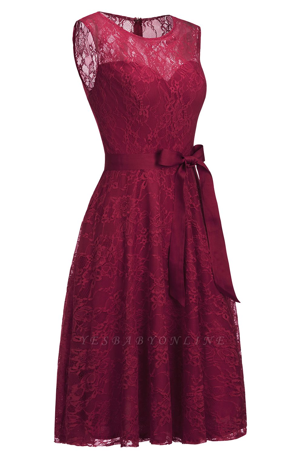 Cheap A-line Sleeveless Burgundy Lace Dress with Bow in Stock