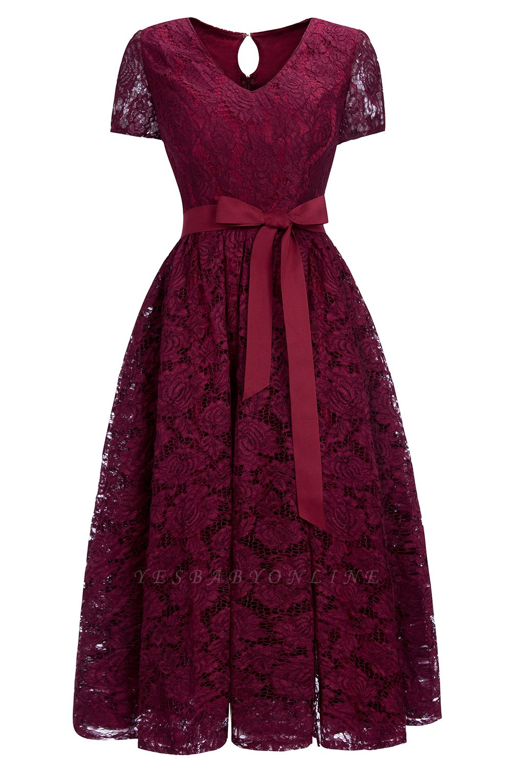 Cheap Burgundy Short Sleeves Flower Lace V-neck Dress with Sash in Stock