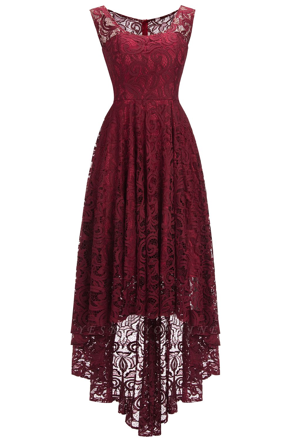 Cheap Beautiful Sleeveless A-line Crew Hi-lo Lace Dress in Stock