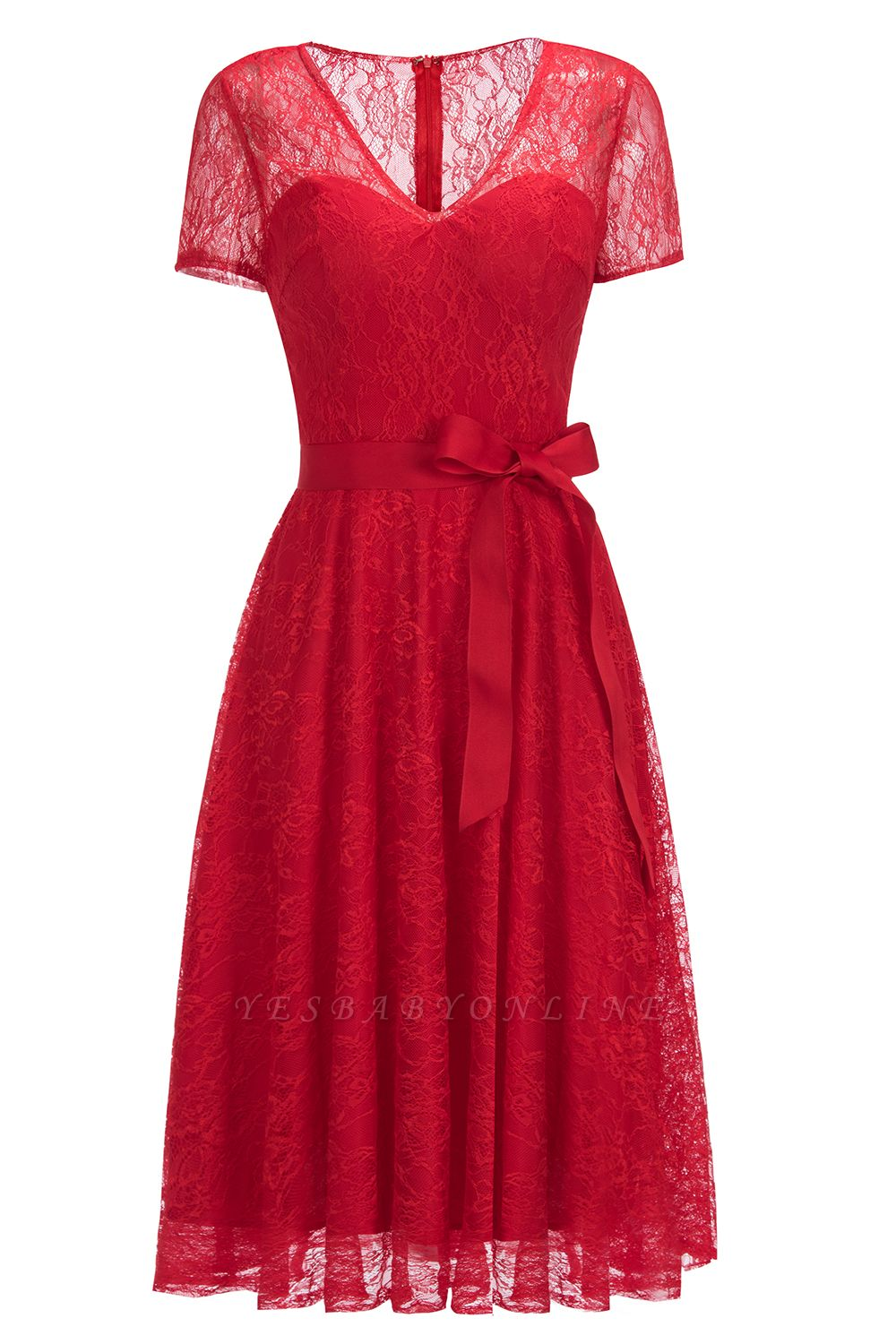 Cheap V-neck Short Sleeves Lace Dress with Bow Sash in Stock