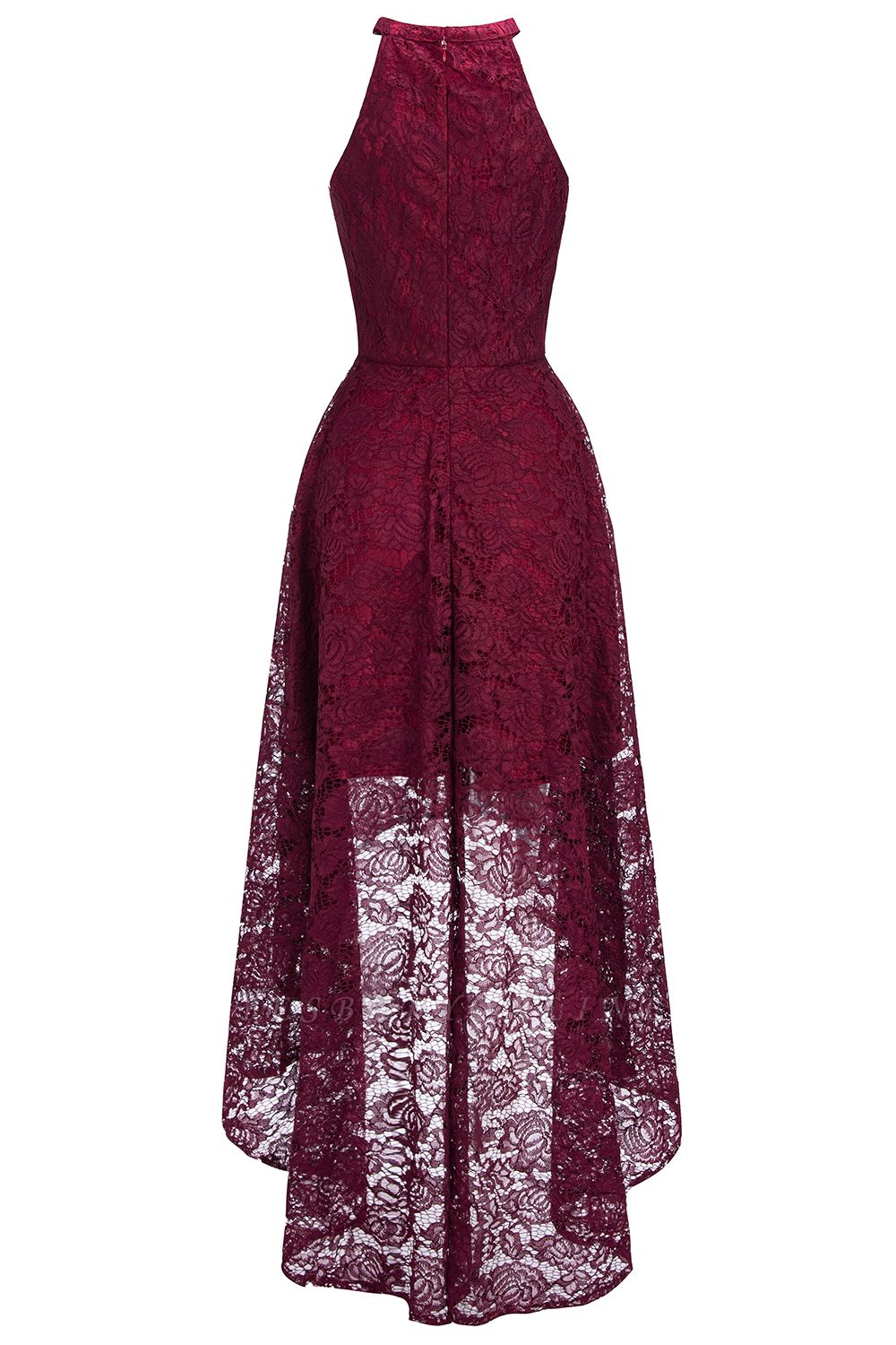 Cheap Halter Sleeveless Sheath Asymmetrical Burgundy Lace Dress in Stock